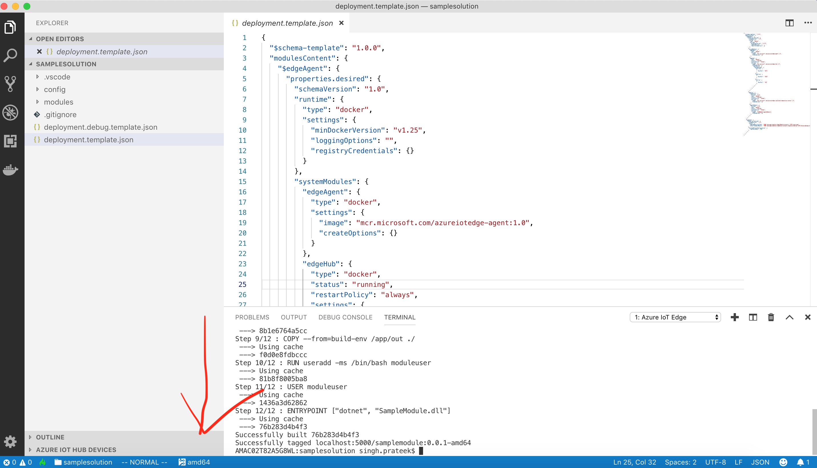 Build of IoT Edge Solution failing on Mac OS X with VS Code