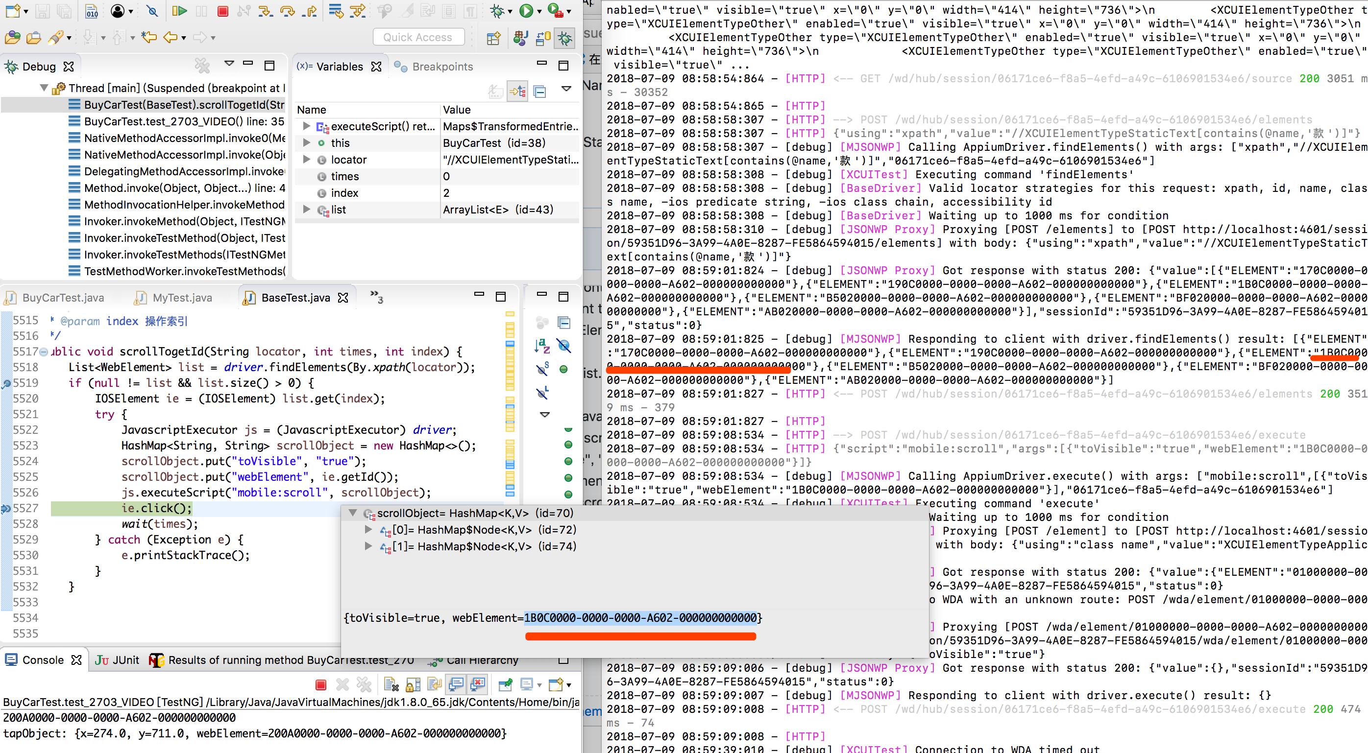n Slash broken the predicate string +[FBFindElementCommands