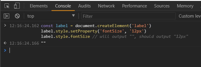 CSSStyleDeclaration setProperty()` doesn't seem to work consistently