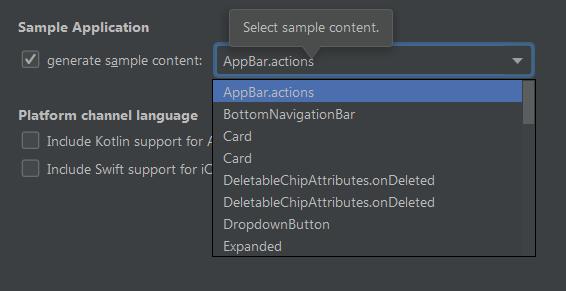 Android Studio - generate sample content menu is empty