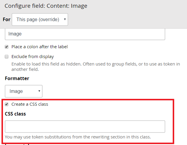 Add the ability to create a CSS class for image field in