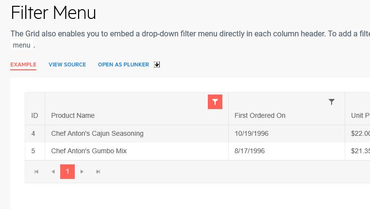 Grid filter menu icon distorts column header rendering in IE · Issue