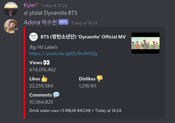 YtStats Command Example with Dyanmite BTS music Video
