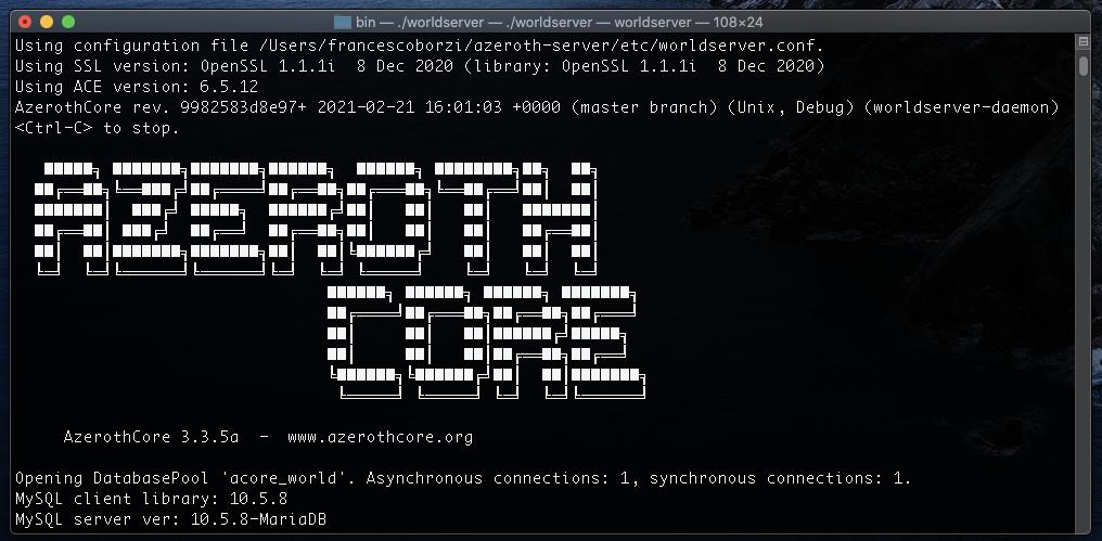 AzerothCore server running on macOS