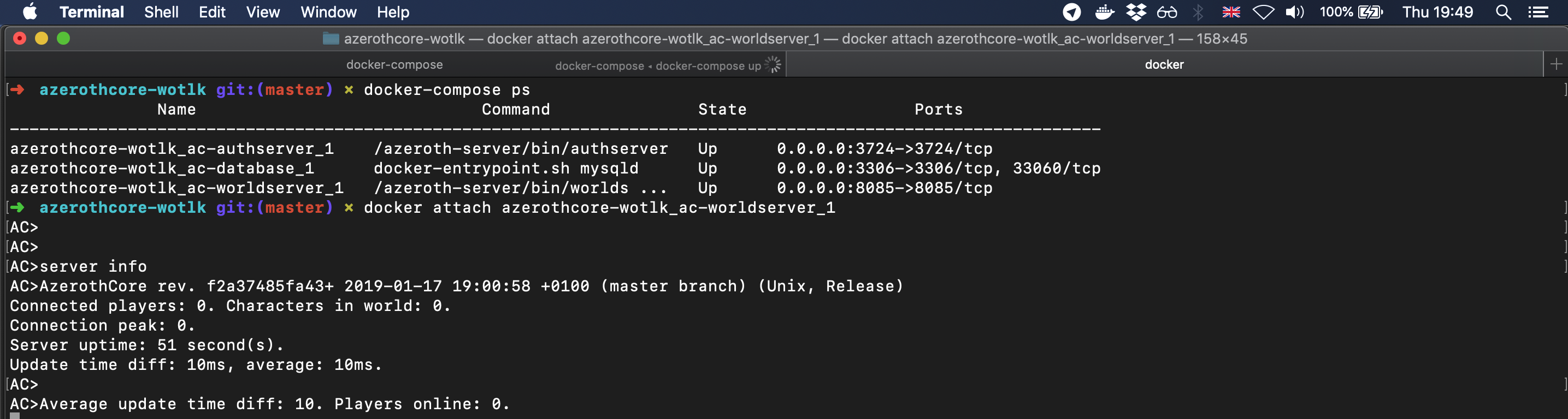 AzerothCore on macOS using Docker