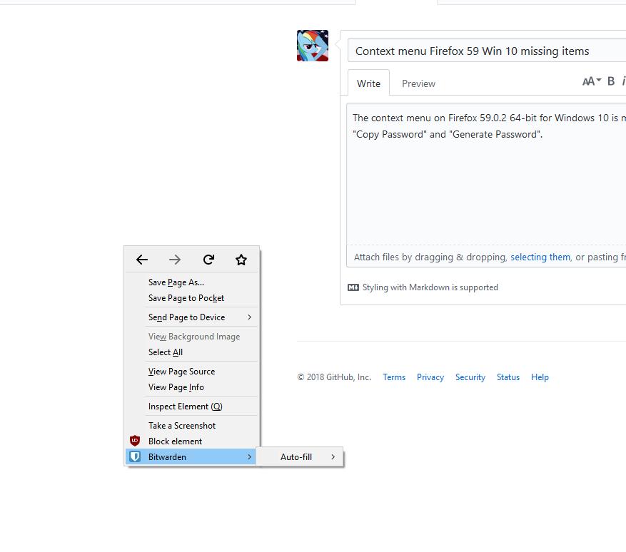 Context menu Firefox 59 Win 10 missing