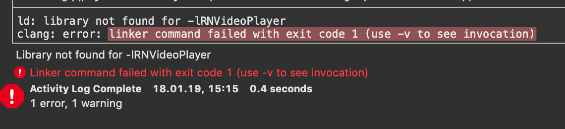 Linker command failed - Xcode Build failed · Issue #1430 · react
