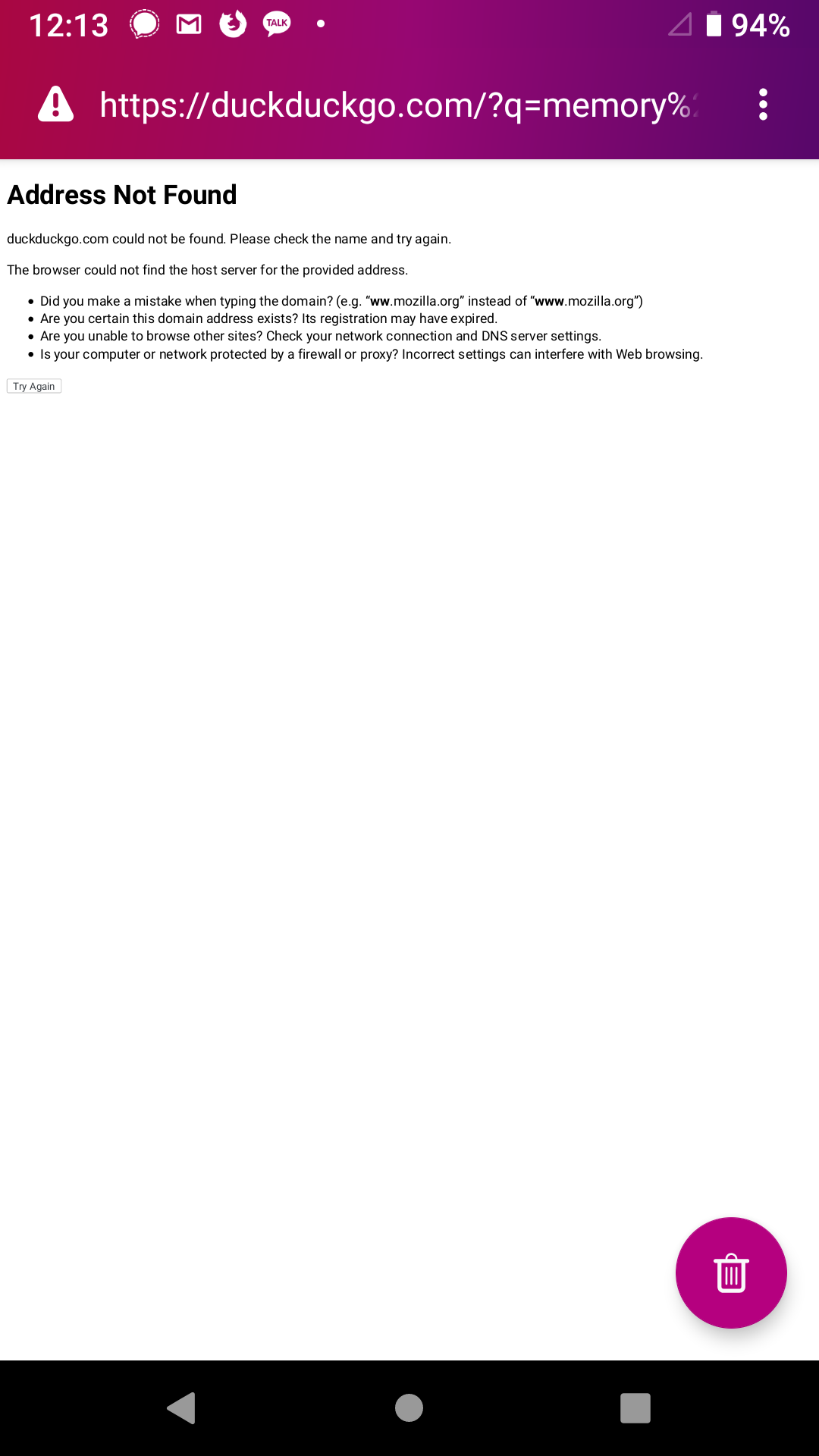 GeckoView unable to load error page is not formatted for mobile
