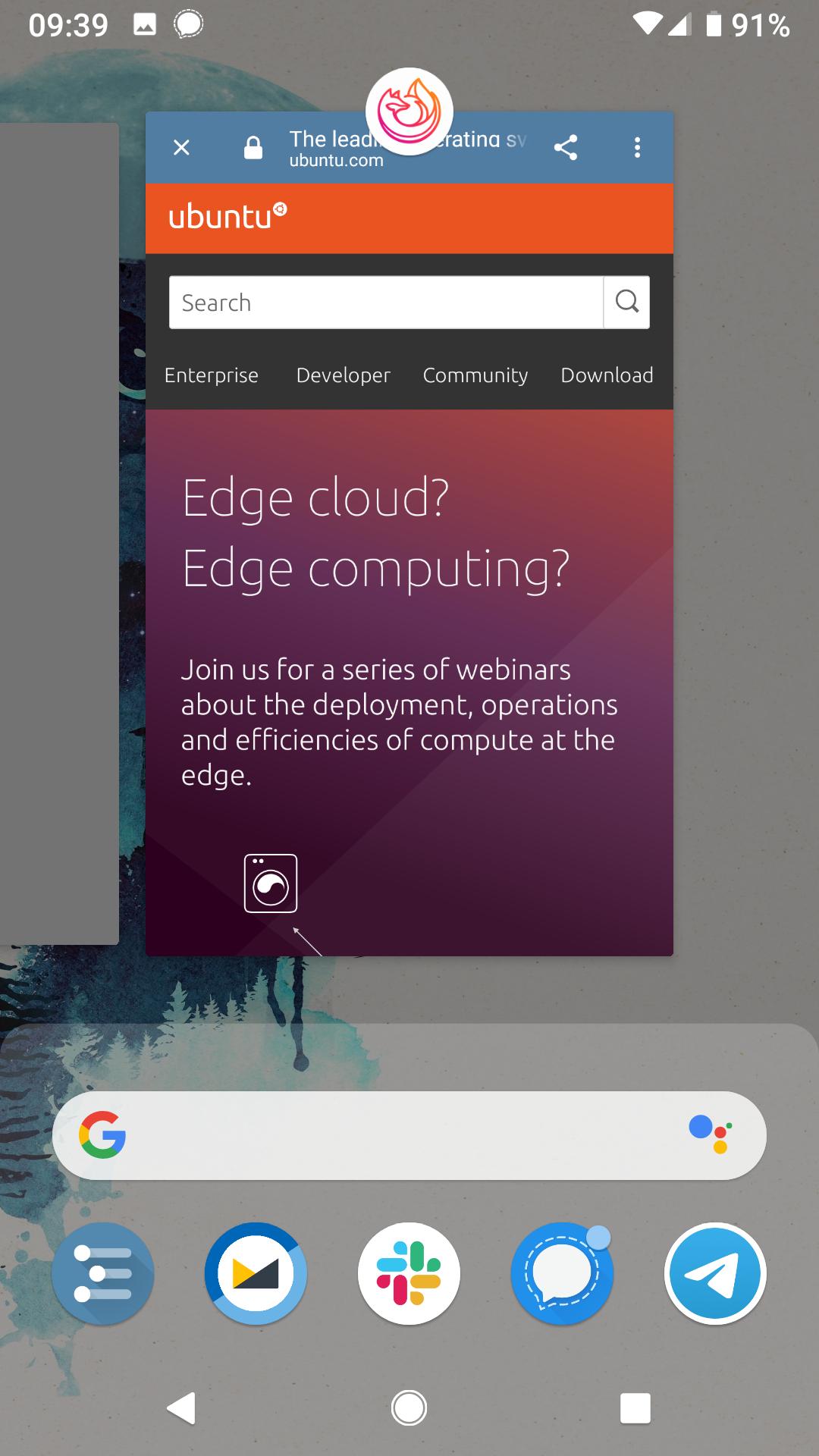 Bug] Broken Firefox custom tab task remains in recent app