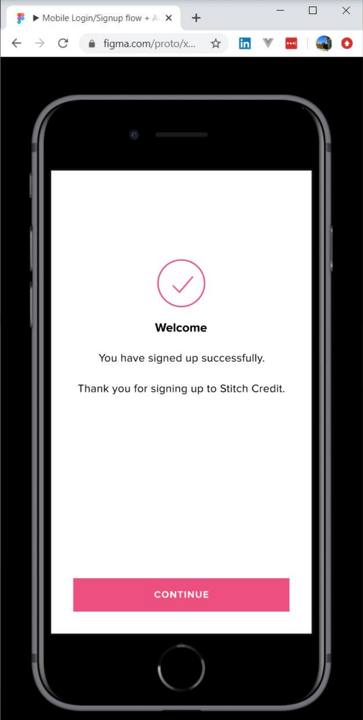 Image of page for successful sign up as a result of successful identification