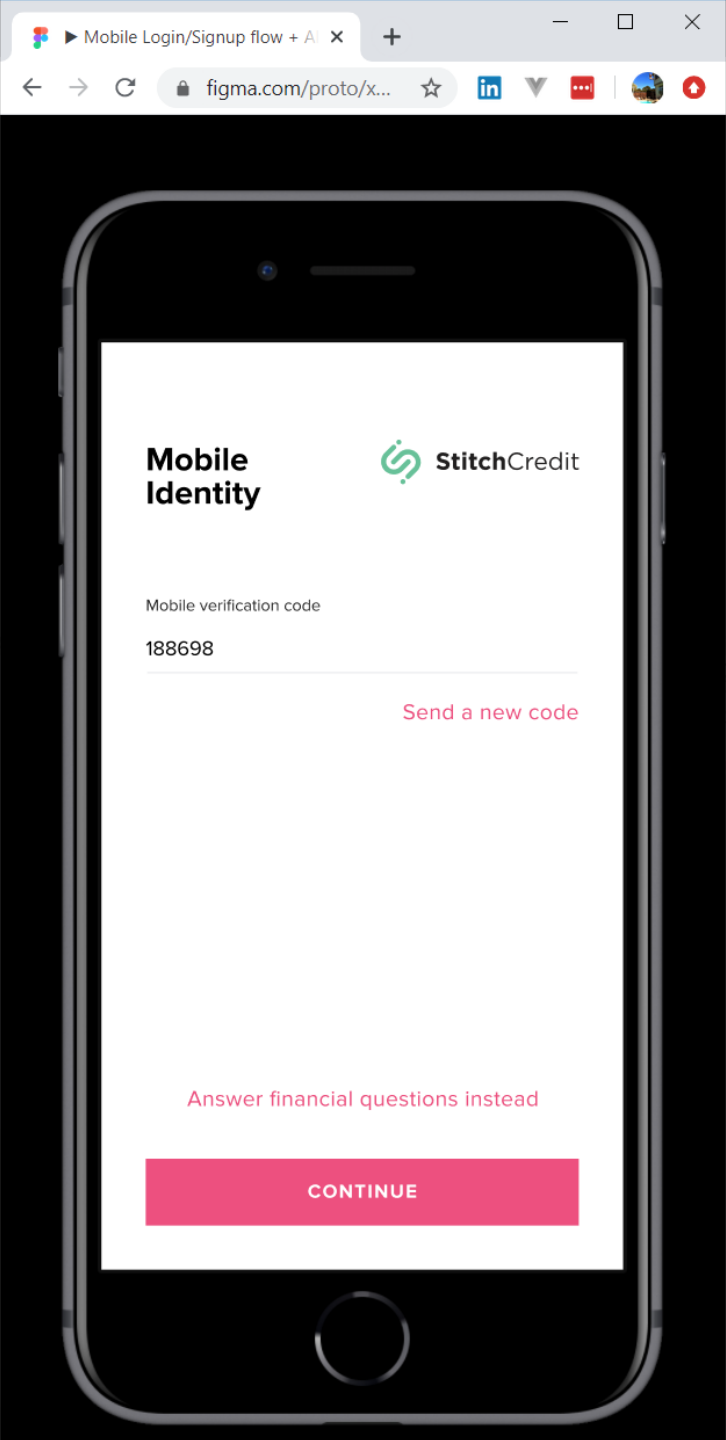 Image of page for entering identity verifying code via SMS