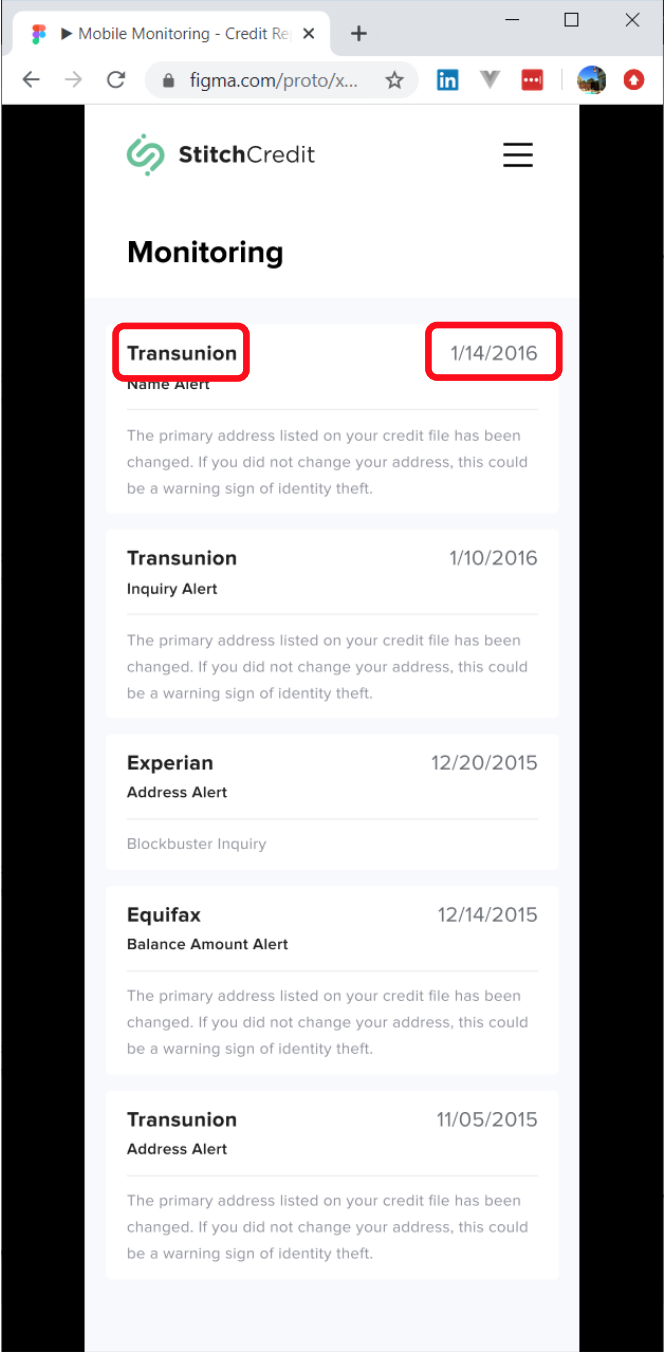 Image of credit report page example