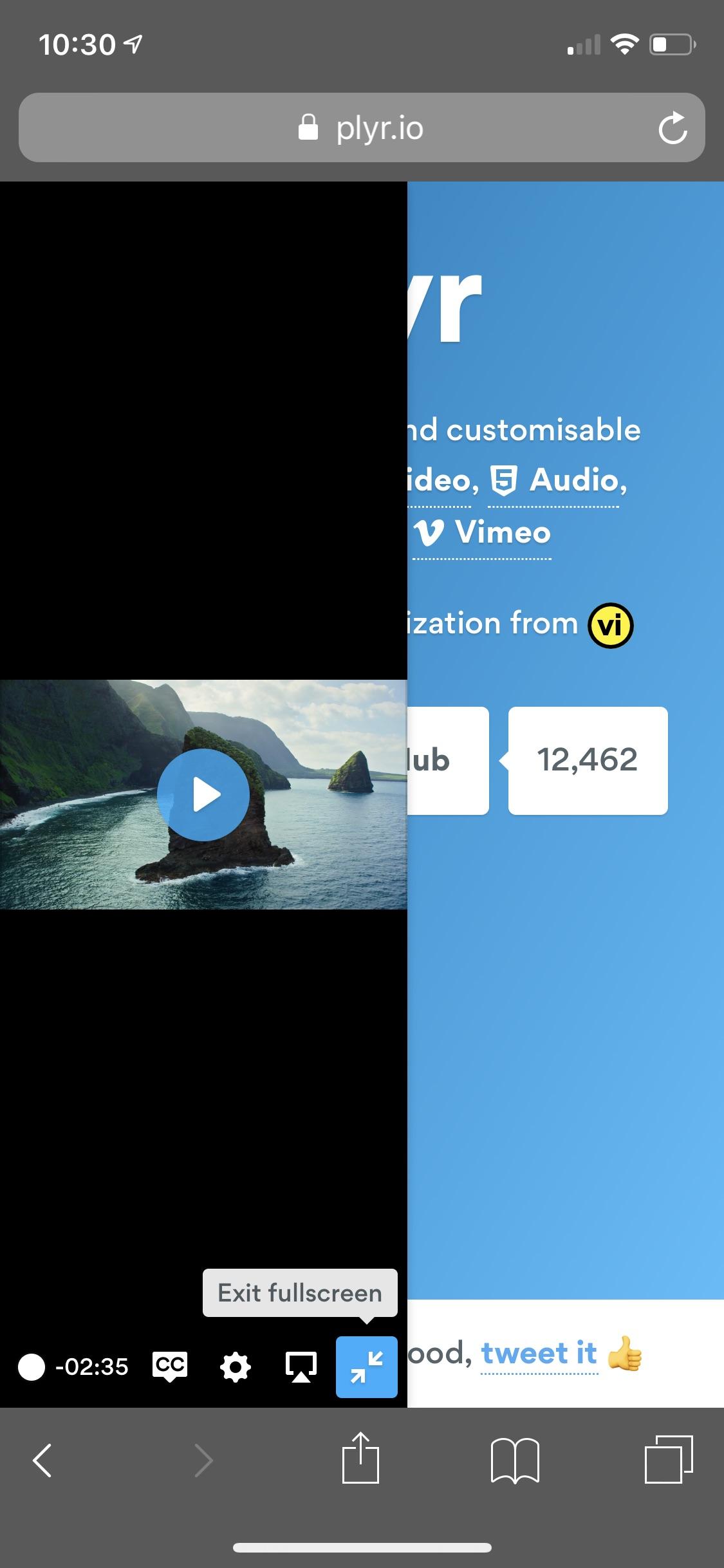 Vimeo fullscreen issues in Safari · Issue #1266 · sampotts
