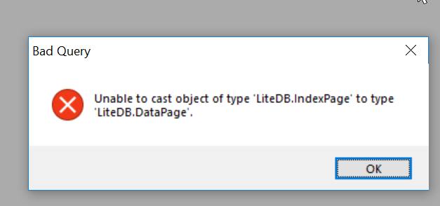 Unable to cast object of type 'LiteDB EmptyPage' to type