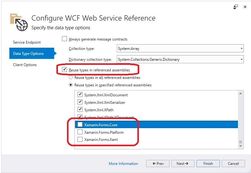Not possible to create a web service reference in Xamarin Forms