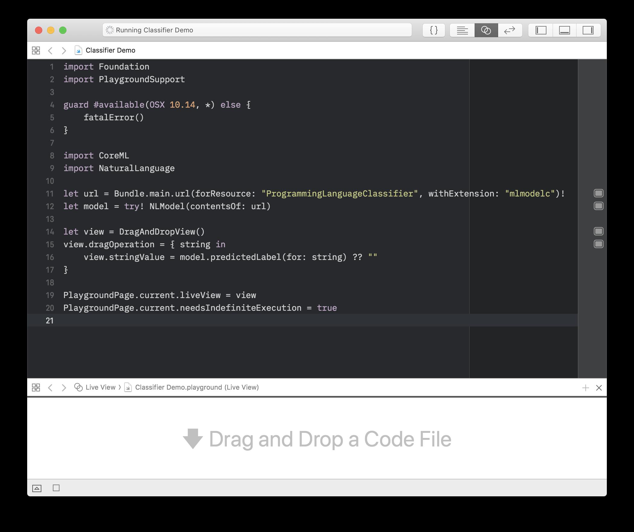 Screenshot of Classifier Example