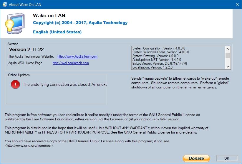 Bug: Update check fails · Issue #121 · basildane/WakeOnLAN
