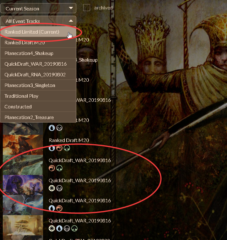 Events draft filter not showing WAR · Issue #542 · Manuel