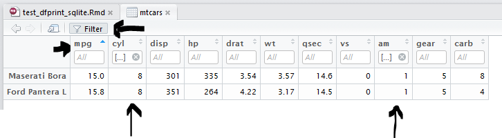 Feature request: Support for row sorting and filtering in
