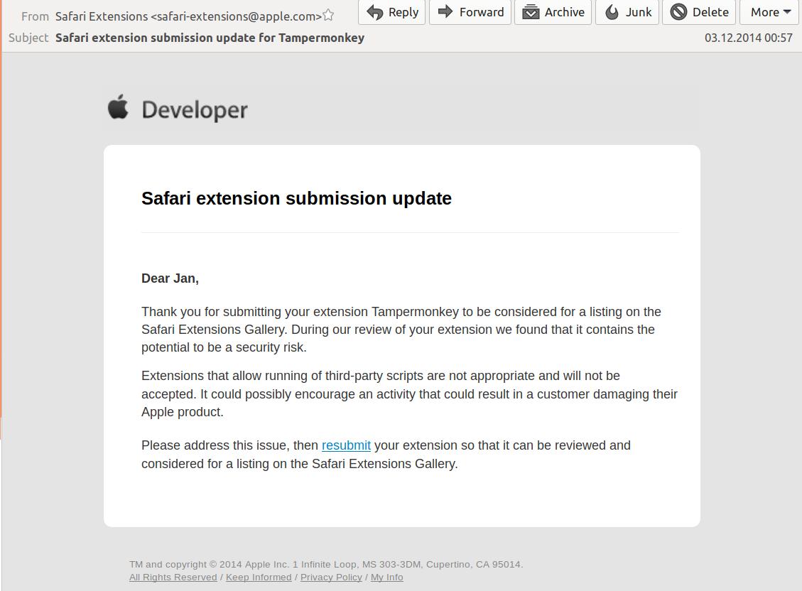 Safari] Tampermonkey as 'Safari App Extension' ? · Issue #558