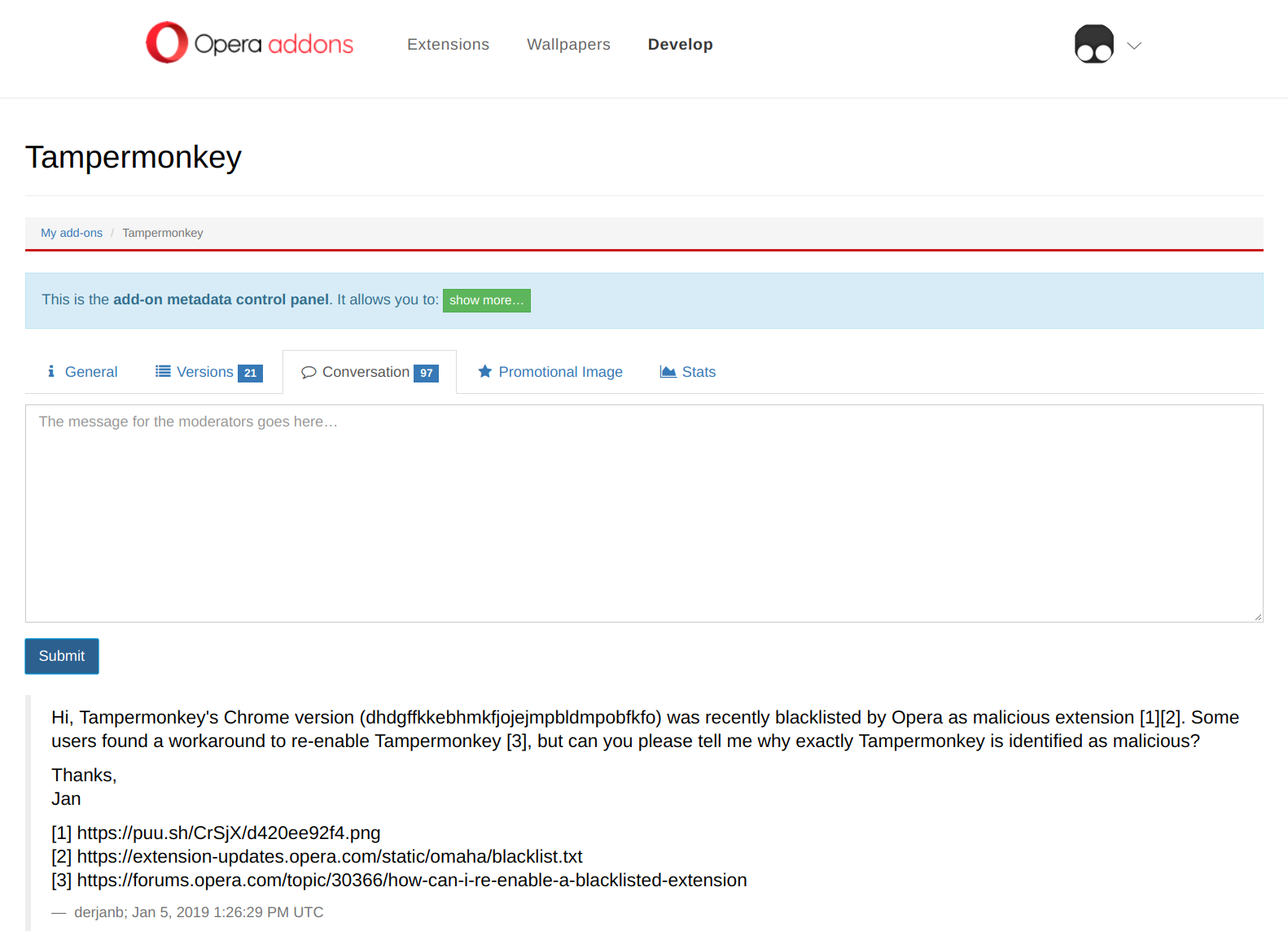 Opera blocking Tampermonkey as \u0027malicious\u0027 · Issue #635