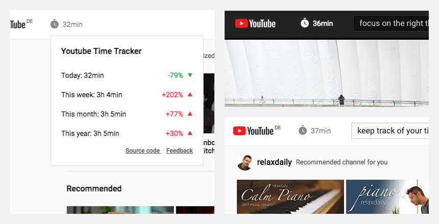 YouTube™ Time Tracker screenshots