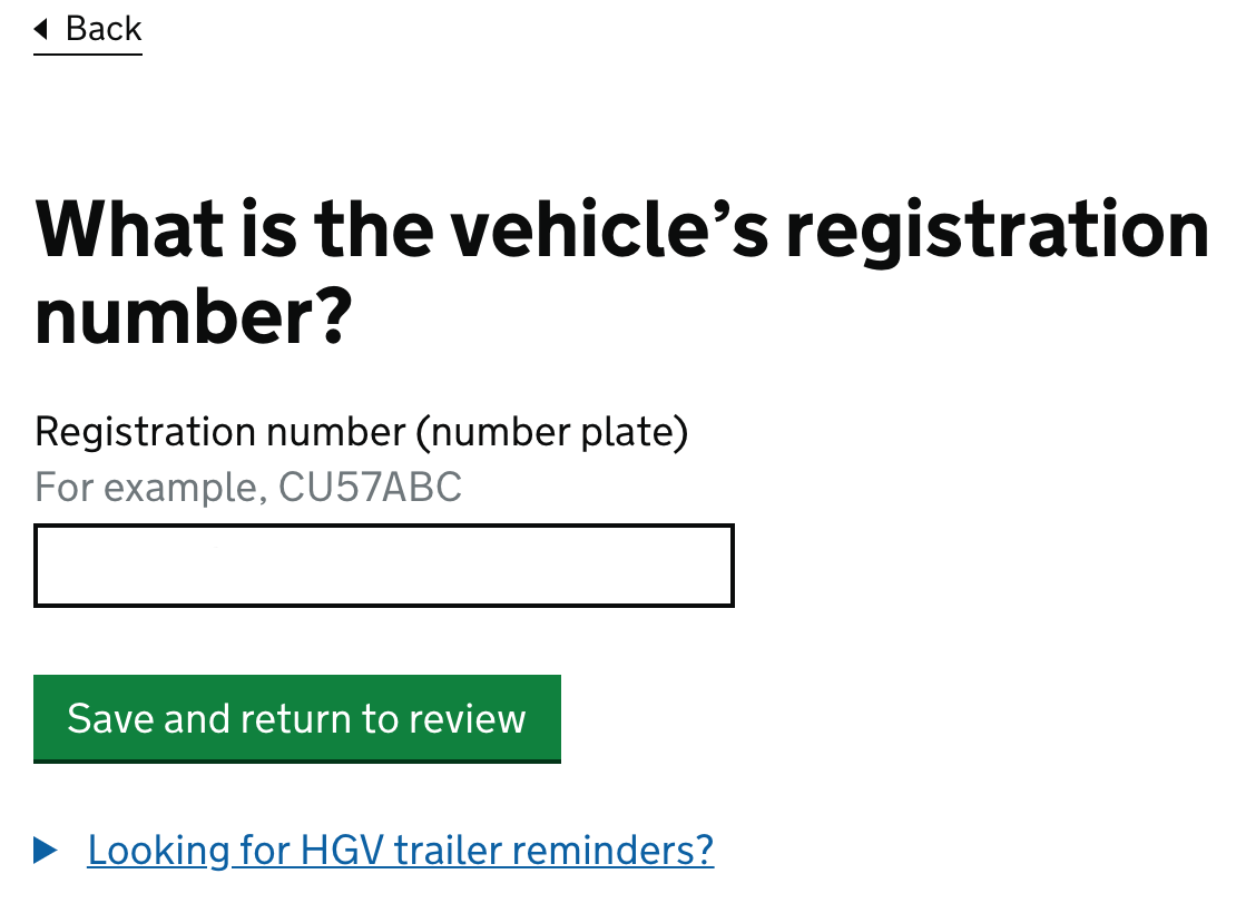 What is the vehicle's registration number?