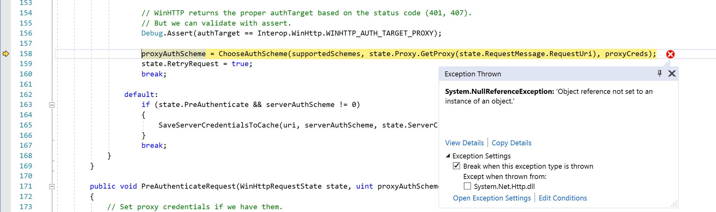 NET Core 2 1 WinHttpHandler proxy authentication broken when using