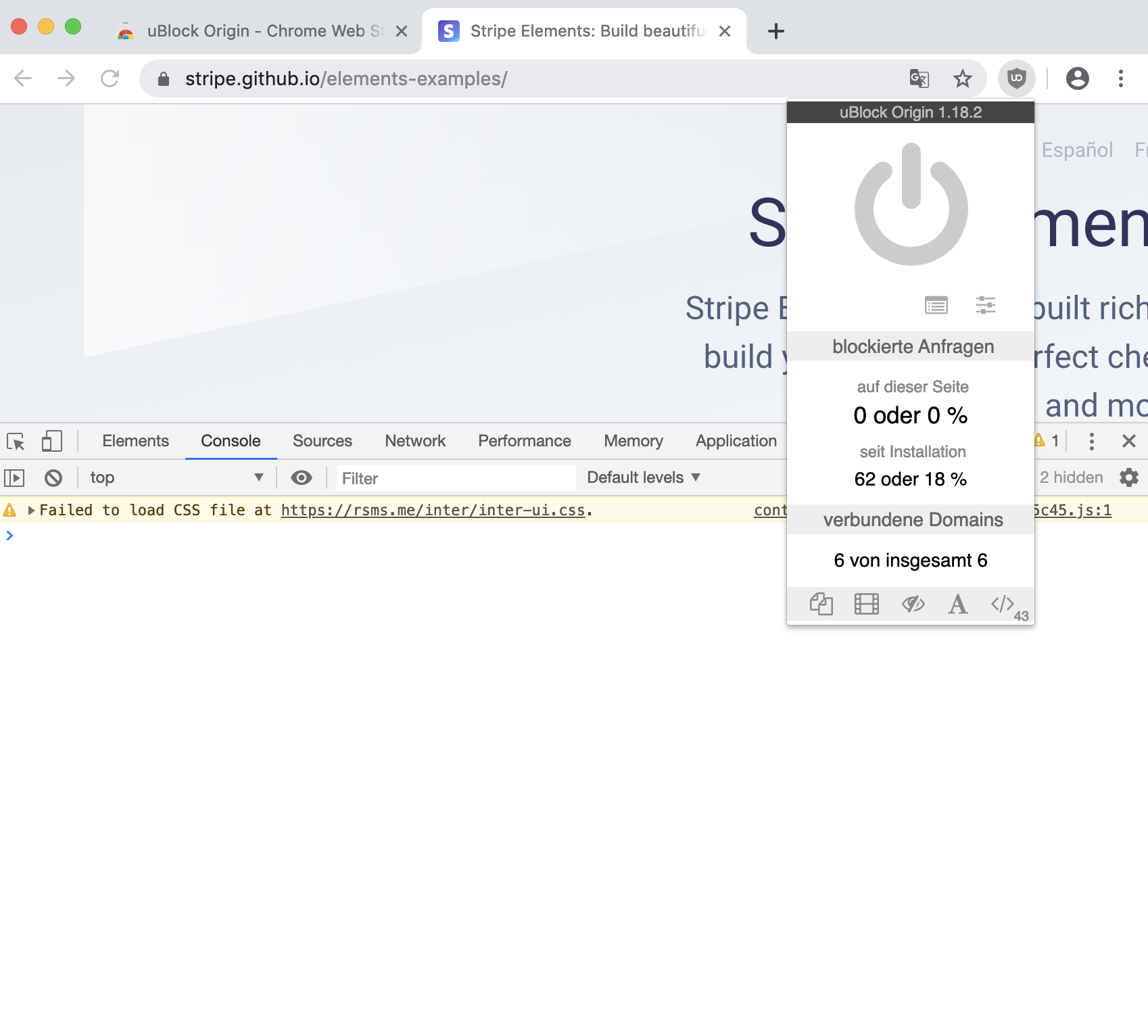uBlock Origin blocks some network requests from Stripe elements