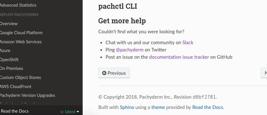 CLI reference doesn't show in last several versions of docs · Issue
