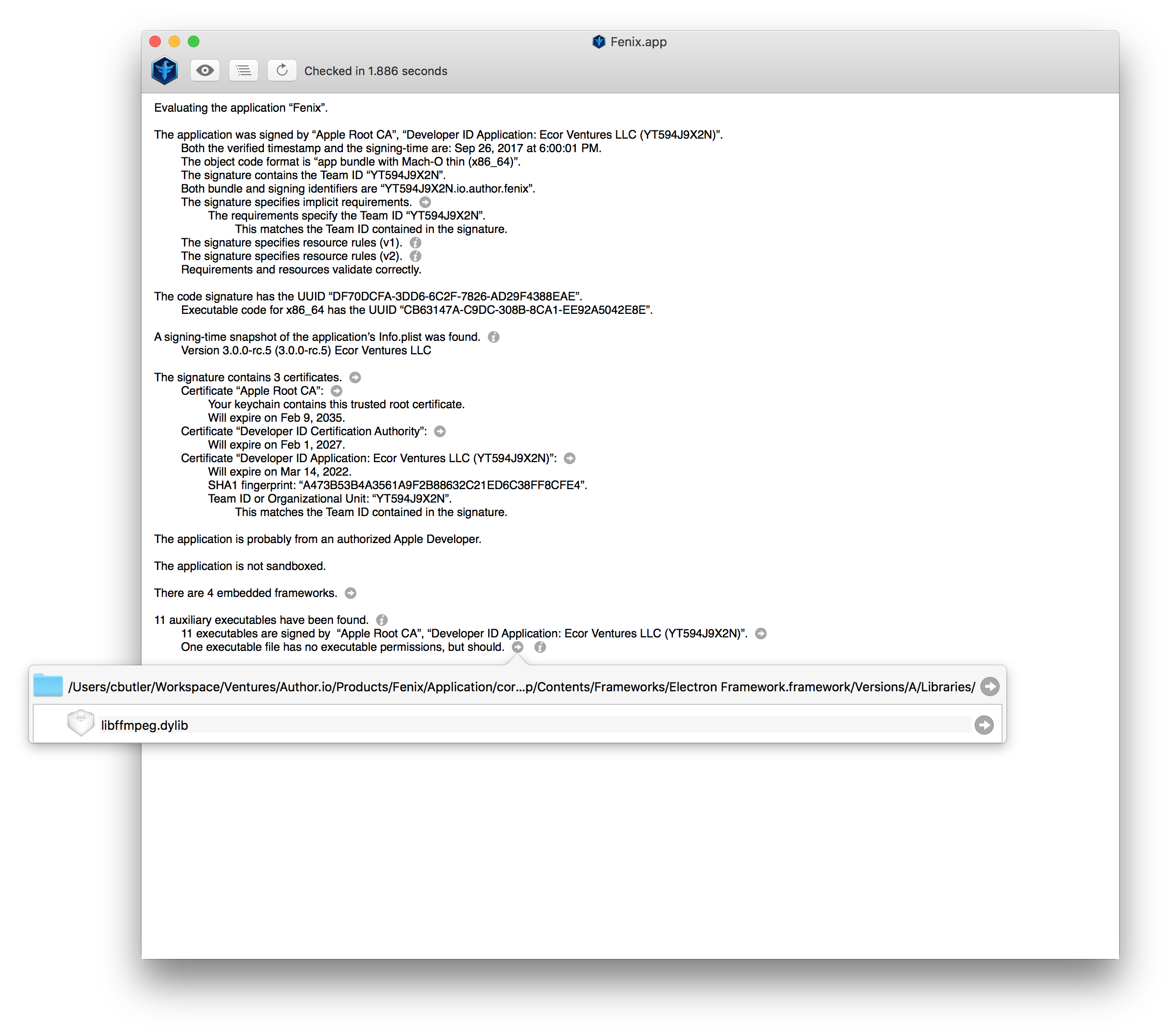 Invalid permissions for libffmpeg dylib (macOS) · Issue