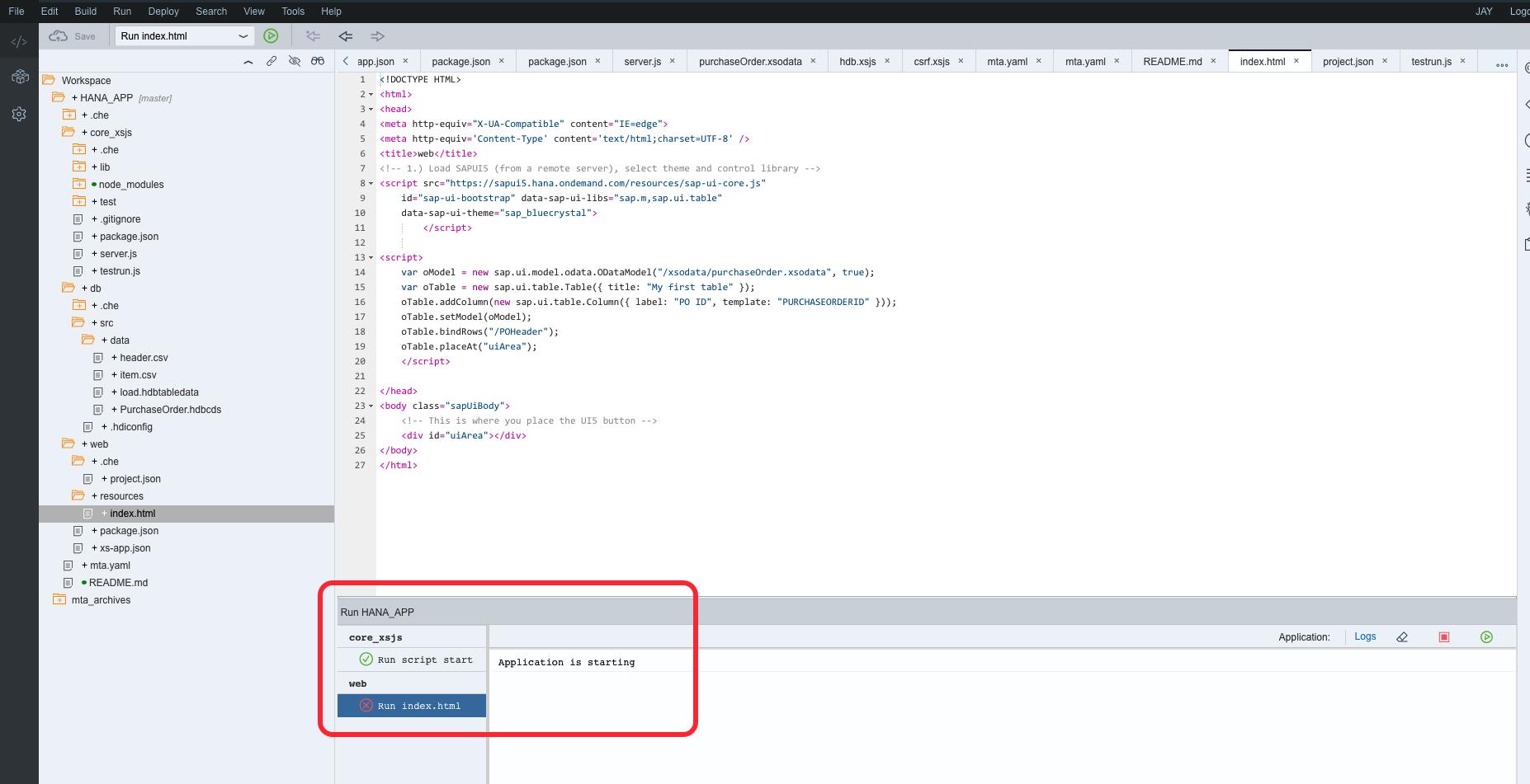 SAP HANA XS Advanced - Consume the OData service in a basic HTML5