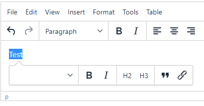 TinyMCE 5: Styleselect in quickbars toolbar doesn't show current