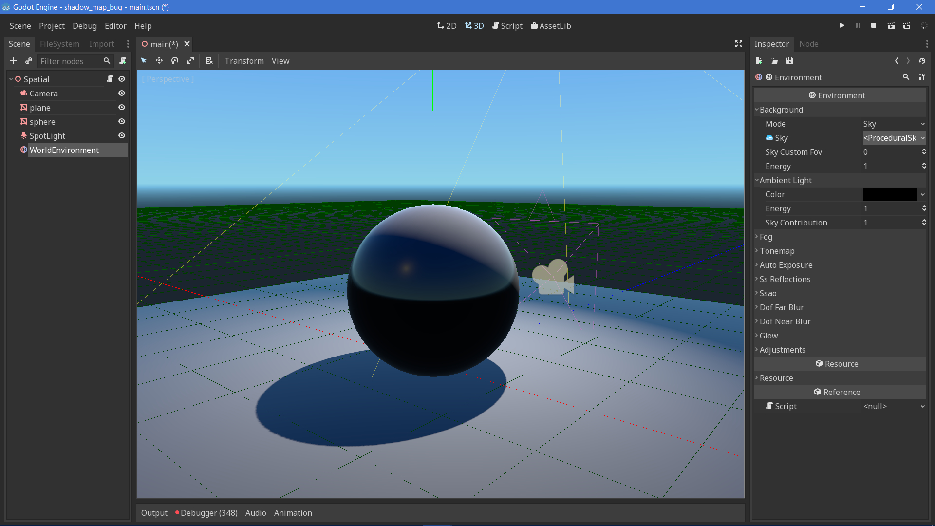 Ambient light refresh issue when adding a new procedural sky · Issue