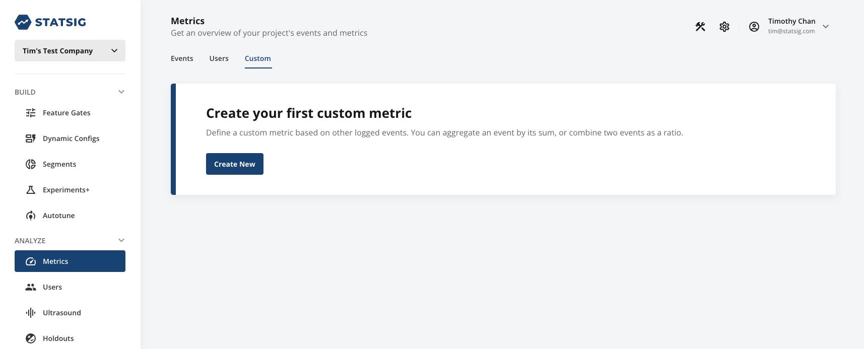 Custom Metrics Section