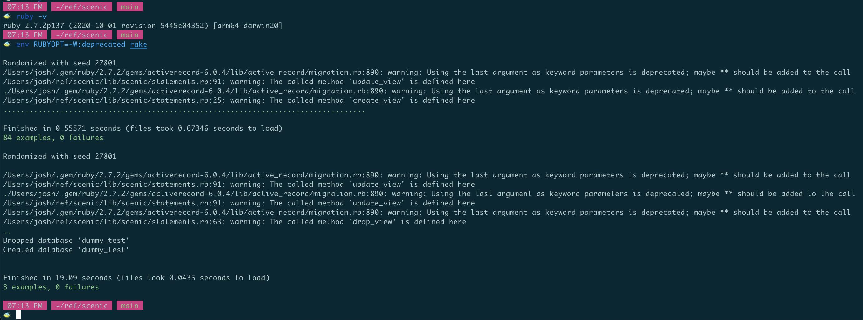 env RUBYOPT=-W:deprecated rake