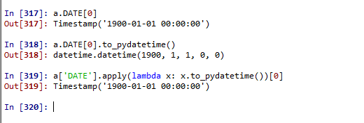 Timestamp to_pydatetime() cannot be applied to an entire