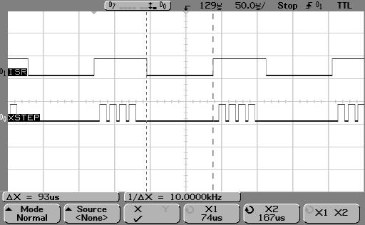 AVR8 quadstep ISR interval