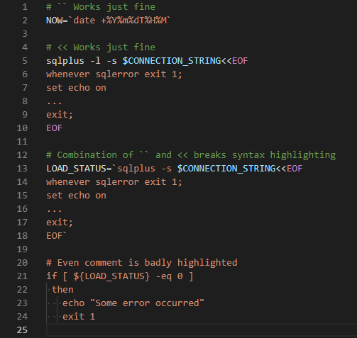 Syntax highlighting breaks in shell scripts when combination