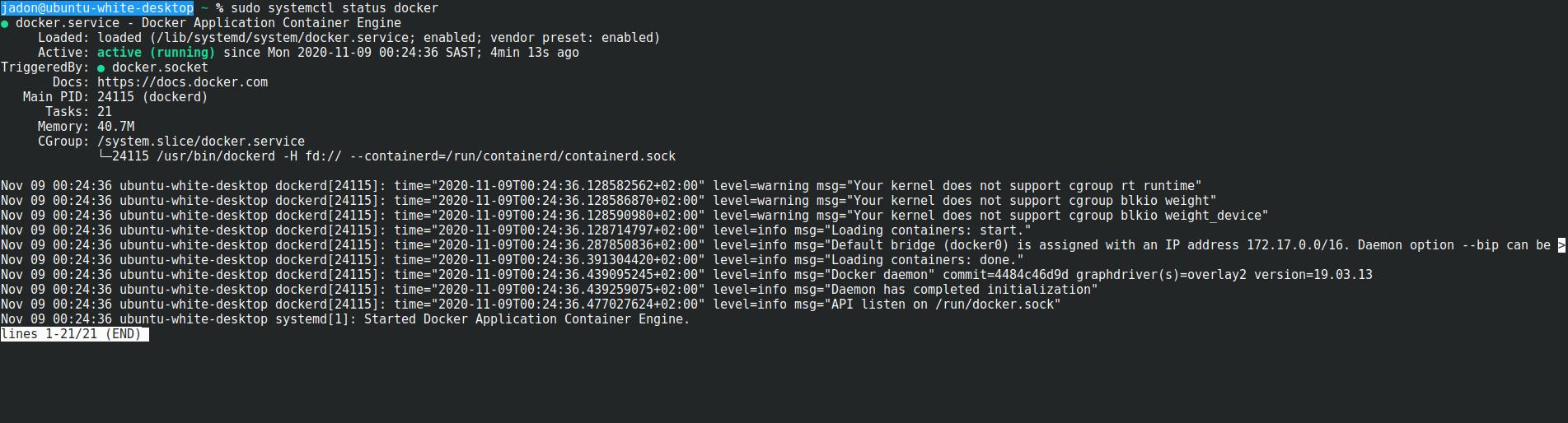 Ubuntu 20.20 Docker is not running, but is · Issue 20 · tighten ...