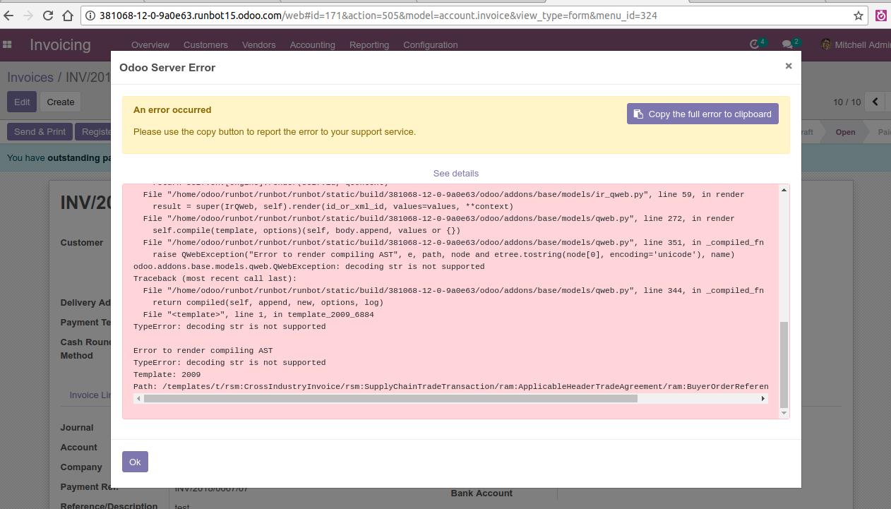 12] FacturX error printed Invoice with description · Issue