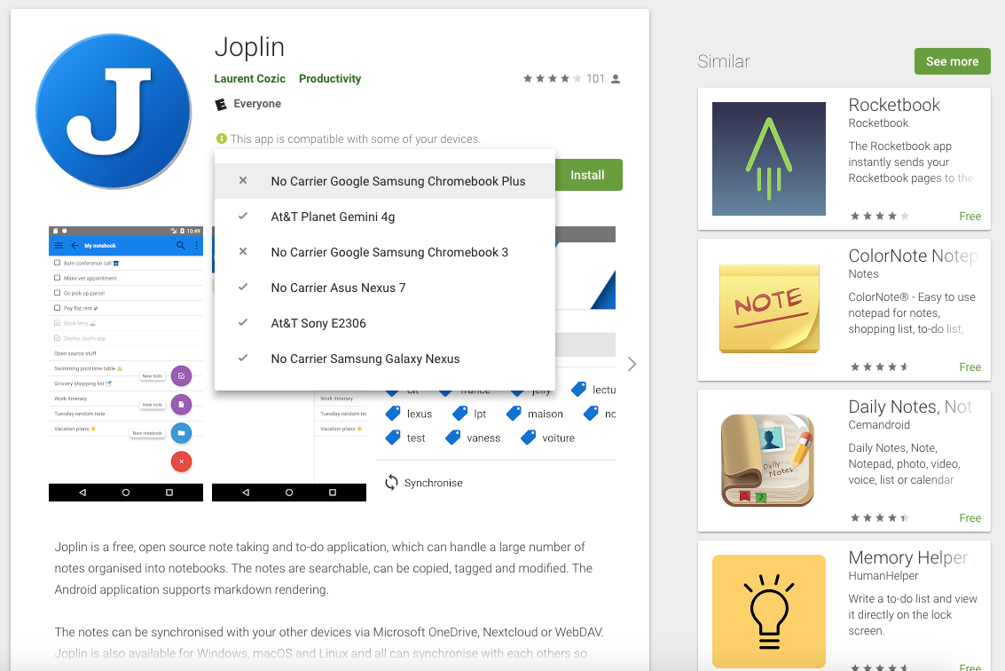 Please enable the Joplin Android app on Chromebooks · Issue #324