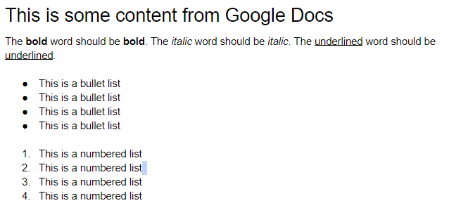 Copy/paste from Google Docs messed up formatting · Issue
