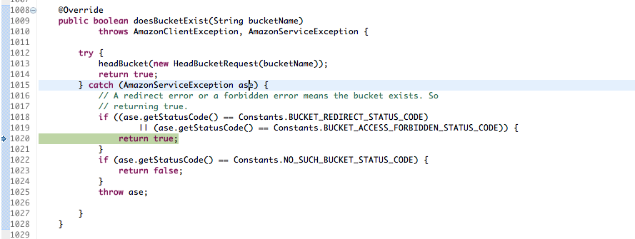AmazonS3Client doesBucketExist() should throw an exception