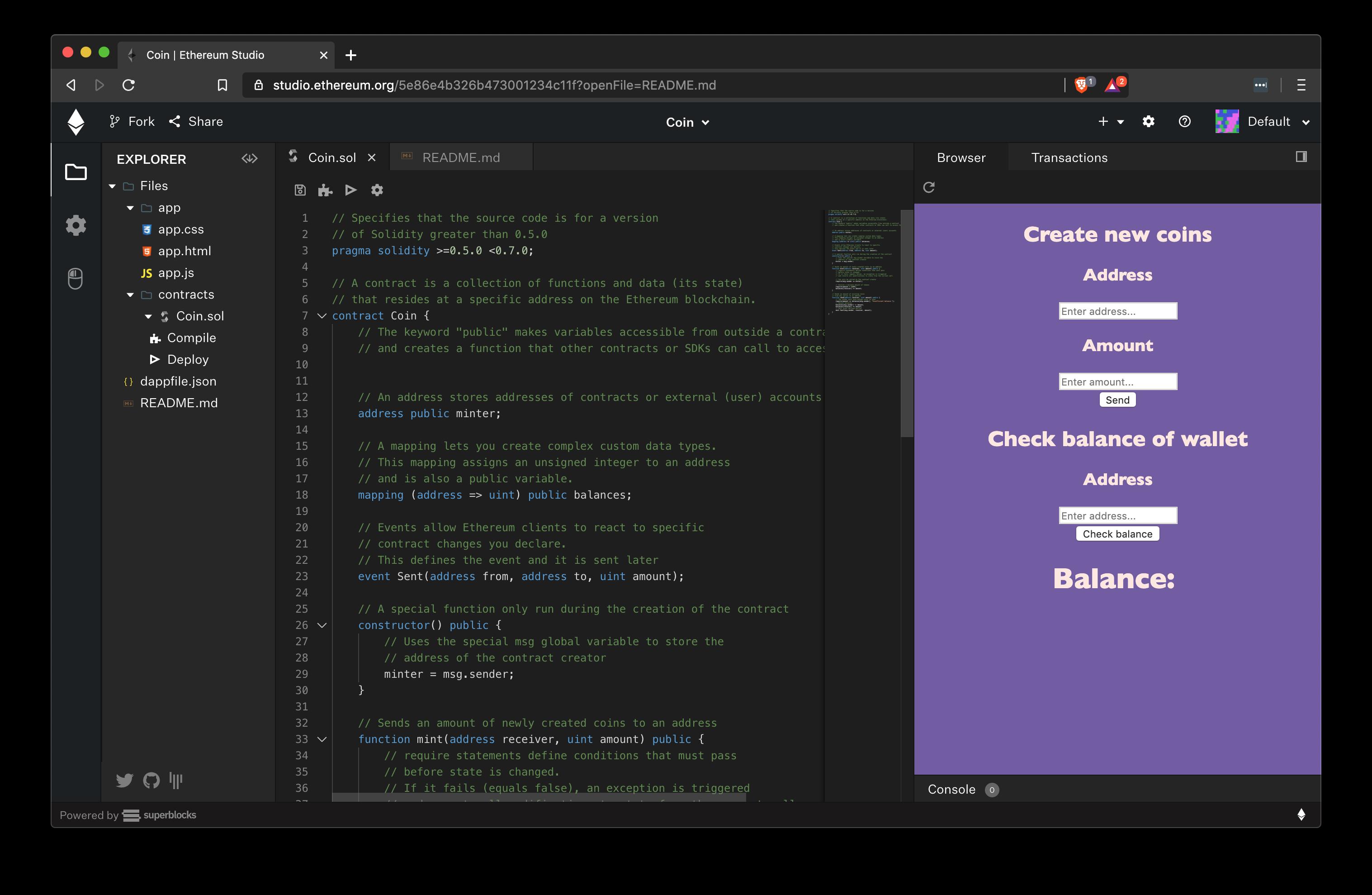 Ethereum Studio in action