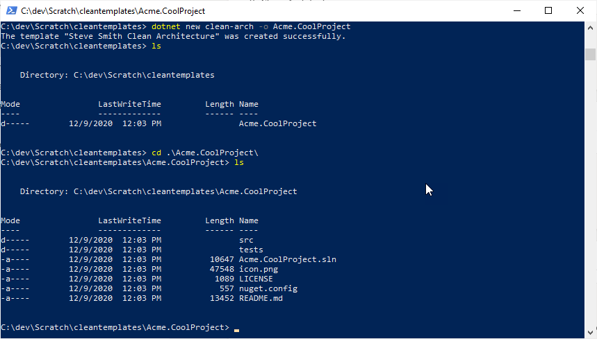 powershell screenshot showing steps