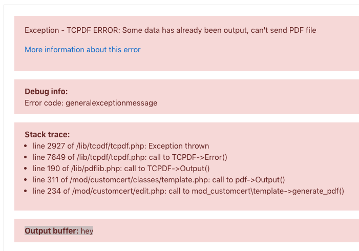 TCPDF ERROR: Some data has already been output, can't send PDF file