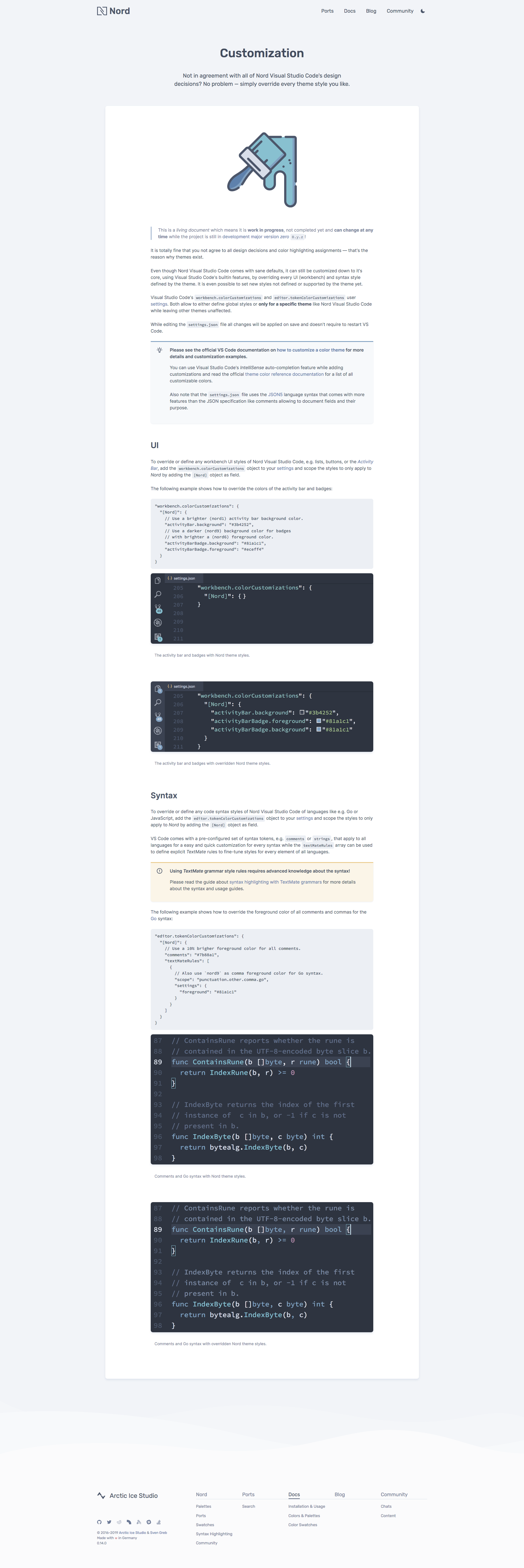 Preview: Nord Visual Studio Code Docs Customization Docs Page