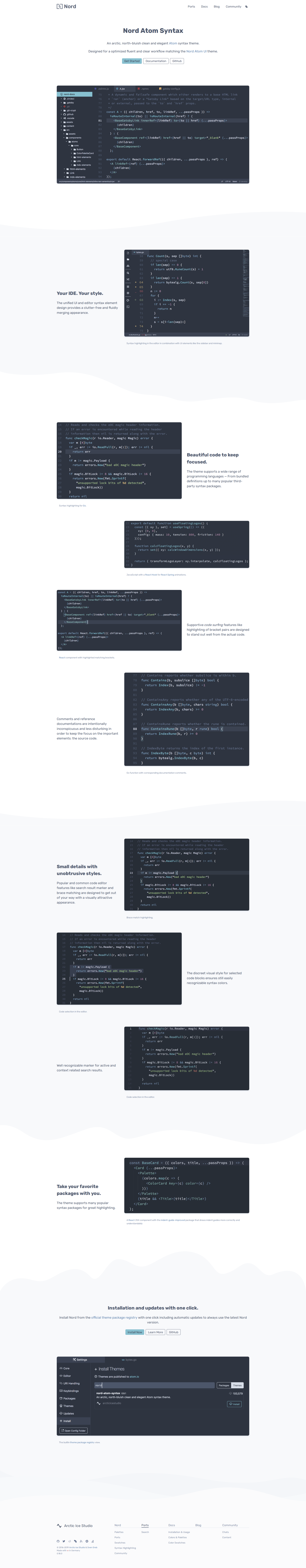 Preview: Nord Atom Syntax Port Project Landing Page