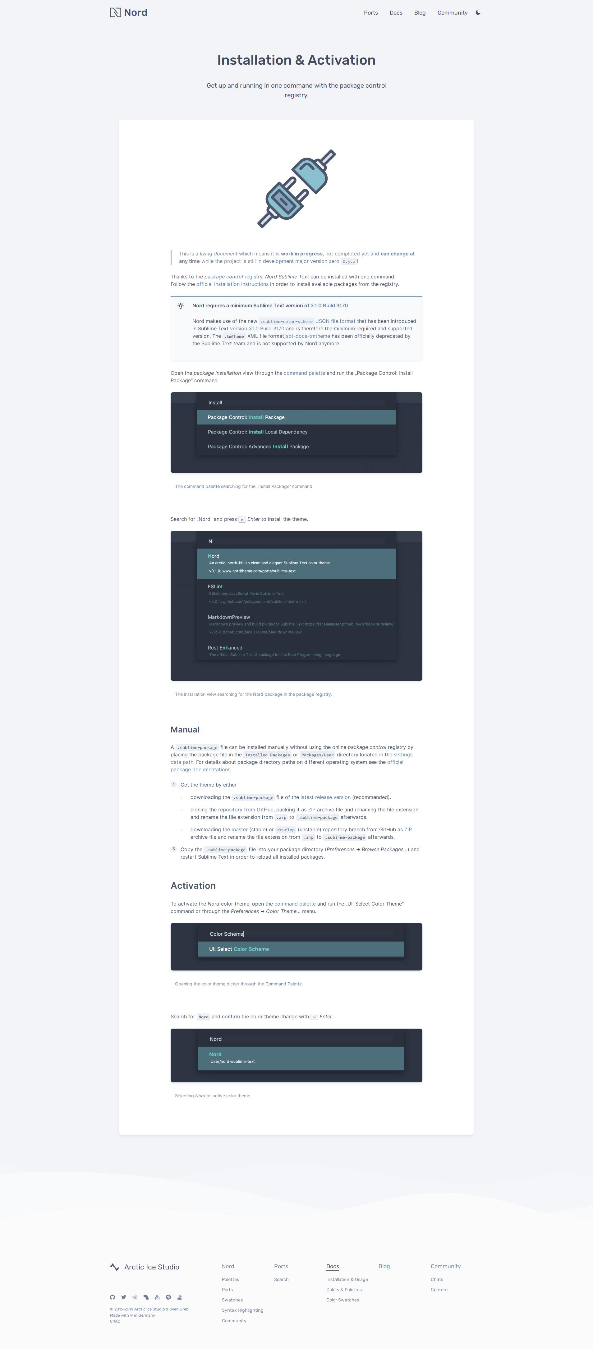 Preview: Nord Sublime Text Docs Installation & Activation Docs Page